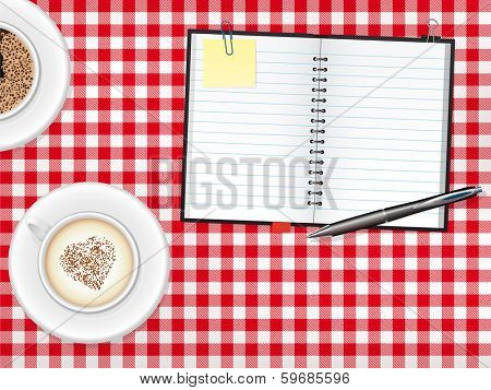 Scrapbook and Coffee Cups on Table. Open scrapbook with Ballpoint-Pen, Cappuccino and Coffee cups on checkered tablecloth vector illustration