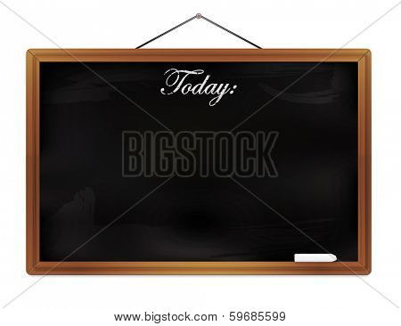 Chalkboard isolated on white background vector illustration . Black chalkboard with wooden frame hanging from nail with