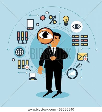 Cartoon man with a magnifying glass and business icons. People examines something . Man searching, Business concept