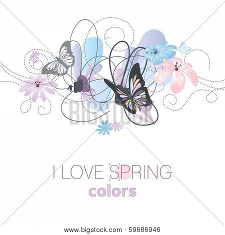 Artistic spring floral card in pastel colors