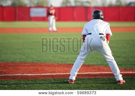 Man leading off on third base