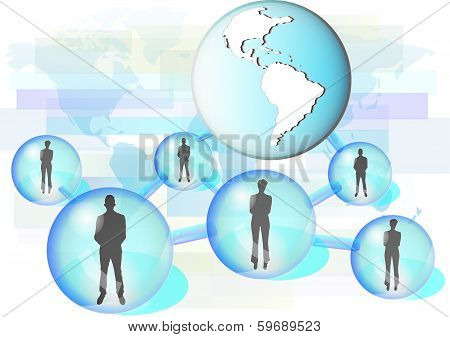 Illustration Of Business People Connected In Network With Globe. Elements Of This Image Are Furnishe