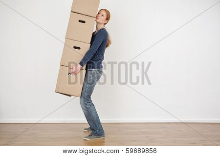 Woman Carrying Carton Storage Boxes