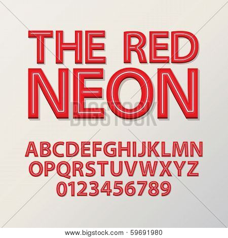 Abstract Red Neon Font And Numbers, Eps 10 Vector