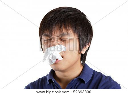 Asia man suffer from nose stuffy