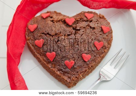 Heart Shaped Brownie Cake