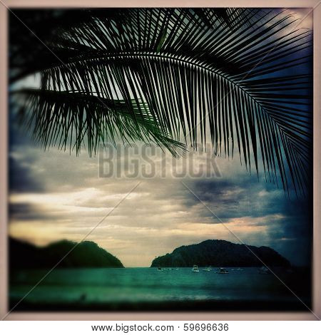 sunset in playa herradura costa rica in the instagram style