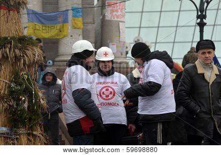 KIEV, UKRAINE - FEB 10, 2014: Downtown of Kiev.Situation in the city.Destruction,propaganda and barricades. Riot in Kiev and Western  Ukraine.February 10, 2014 Kiev, Ukraine
