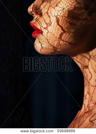 Profile Of Futuristic Woman's Face With Openwork Lace In Shadows