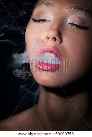 Dependence. Addiction. Woman Smoker Exhales Smoke Of Cigarette