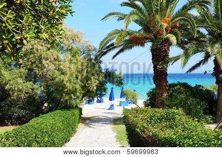 Way To The Beach Of Luxury Hotel, Halkidiki, Greece
