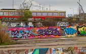 Graffiti on NDSM-werf in Amsterda