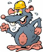 Hand-drawn Vector Illustration Of An Angry Upset Rat With Yellow Helmet