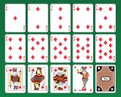 foto of ace spades  - Set of playing cards of Diamonds on green background - JPG