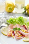 stock photo of swordfish  - swordfish carpaccio with green salad - JPG