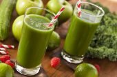 stock photo of mint-green  - Healthy Green Vegetable and Fruit Smoothi Juice with Apple and Greens - JPG