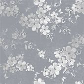 stock photo of bud  - Seamless gray pattern with flowers and butterflies - JPG