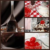 Hot fudge sundae collage.  Images include a nostalgic still life of a sundae in classic tulip dish w