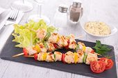 chicken kebab and salad