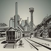 stock photo of wagon  - Soviet industrial landscape with railway wagons and pipes and towers illustration - JPG