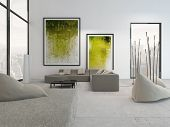 pic of green wall  - White living room interior with vibrant green decoration - JPG