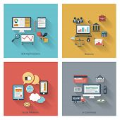 stock photo of e-business  - Set of modern concepts in flat design with long shadows and trendy colors for web - JPG