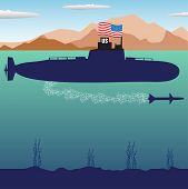 pic of u-boat  - Abstract colorful illustration with U - JPG