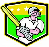 pic of cricket bat  - Illustration of a cricket player batsman with bat batting set inside shield done in cartoon style on isolated background - JPG