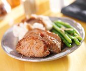 stock photo of meatloaf  - hearty meatloaf dinner with sides - JPG