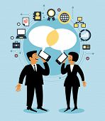 stock photo of motivation talk  - Cartoon team of people with dialog speech bubble and business icons - JPG