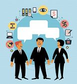 Cartoon team of people with dialog speech bubble and business icons. Concept of communication. Busin