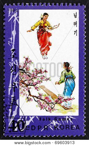 Postage Stamp North Korea 1983 Seesaw, Folk Games