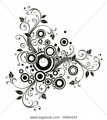 Black Flower And Circle Pattern