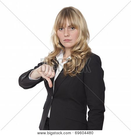 Businesswoman Giving A Thumbs Down Gesture