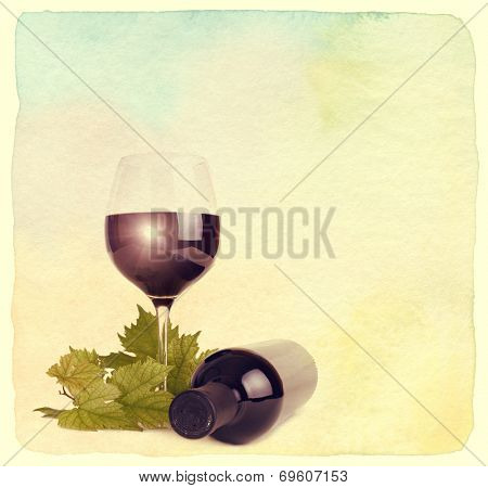 Wineglass, bottle of wine and grapes leaf. Vintage retro style. Paper watercolor textured.