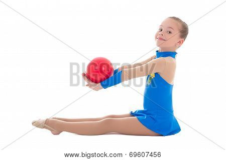 Beautiful Girl Doing Gymnastics With Ball  Isolated On White