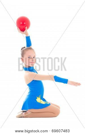 Little Girl Doing Gymnastics With Ball  Isolated On White