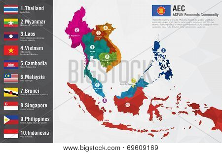 Aec Asean Economic Community World Map With A Pixel Diamond Texture And Flags.