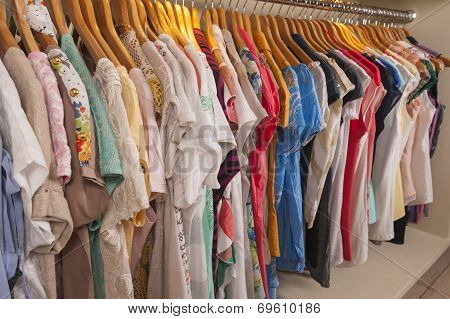 Womens Clothes Hanging On Rail
