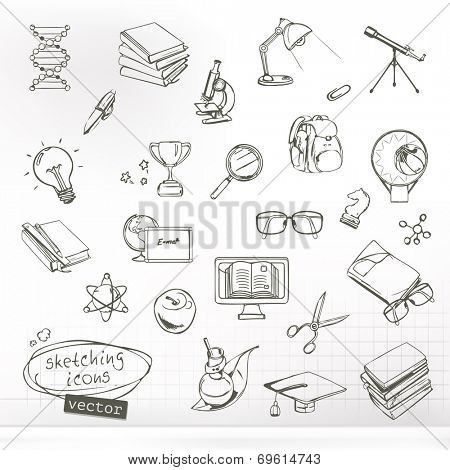 Studying and education, sketches of icons vector set
