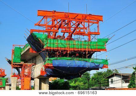 Sky Train Construction Site In Bangkok, Thailand.