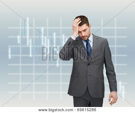 business, education and office concept - handsome businessman having headache over forex chart background over forex chart background