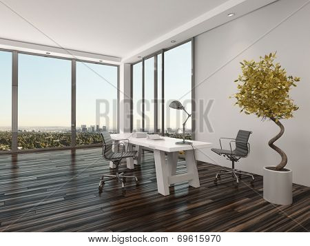 Modern home office interior design with two office chairs on either side of a white desk in front of floor-to-ceiling view windows overlooking a city with a decorative potted tree