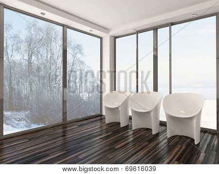Three modern modular white chairs standing in a row on a wooden paquet floor in front of large glass view windows overlooking a winter garden