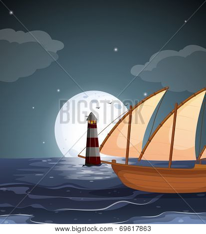 Illustration of a sea with a lighthouse and a boat
