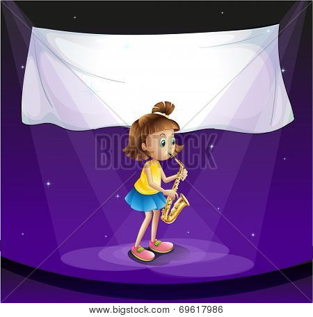 Illustration of a young girl performing at the stage with an empty banner
