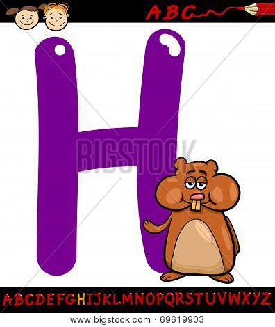 Letter H For Hamster Cartoon Illustration