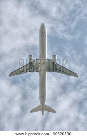 under a flying big jet plane flying