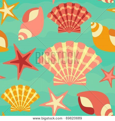 Sea Shells Seamless Background
