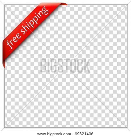 Free shipping corner ribbon.  Corner ribbon template with white paper frame and transparent background. Put your own text and background image. Vector illustration